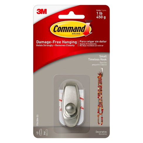 Command™ - Small - Wall Hook - Brushed Nickel - image 1 of 4
