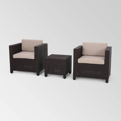 Waverly 3pc Faux Wicker Chat Set Brown/Beige - Christopher Knight Home