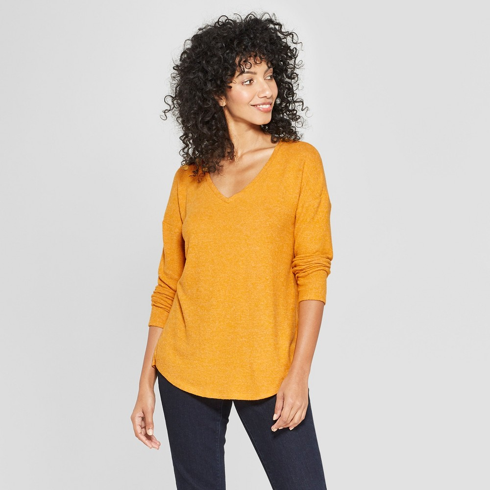 Women's Long Sleeve Cozy Knit Blouse - A New Day Yellow XL
