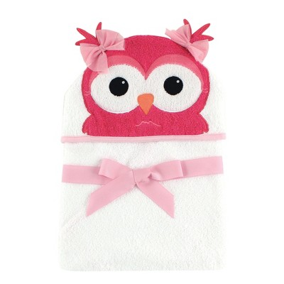 Hudson Baby Infant Girl Cotton Animal Face Hooded Towel, Cutesy Owl, One Size