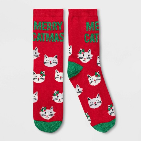 """Women's Sparkly """"Merry Catmas"""" Crew Socks - Wondershop™ Red One Size - image 1 of 1"""