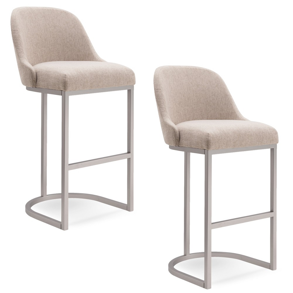 Set of 2 Barrelback Bar Stool with Metal Base Pewter/Oatmeal Linen (Silver/Oatmeal Linen) - Leick Home