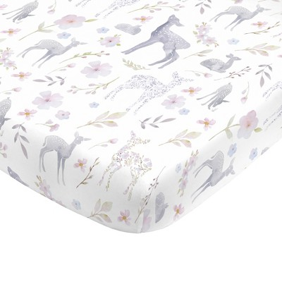 NoJo Super Soft Floral Deer Nursery Crib Fitted Sheet