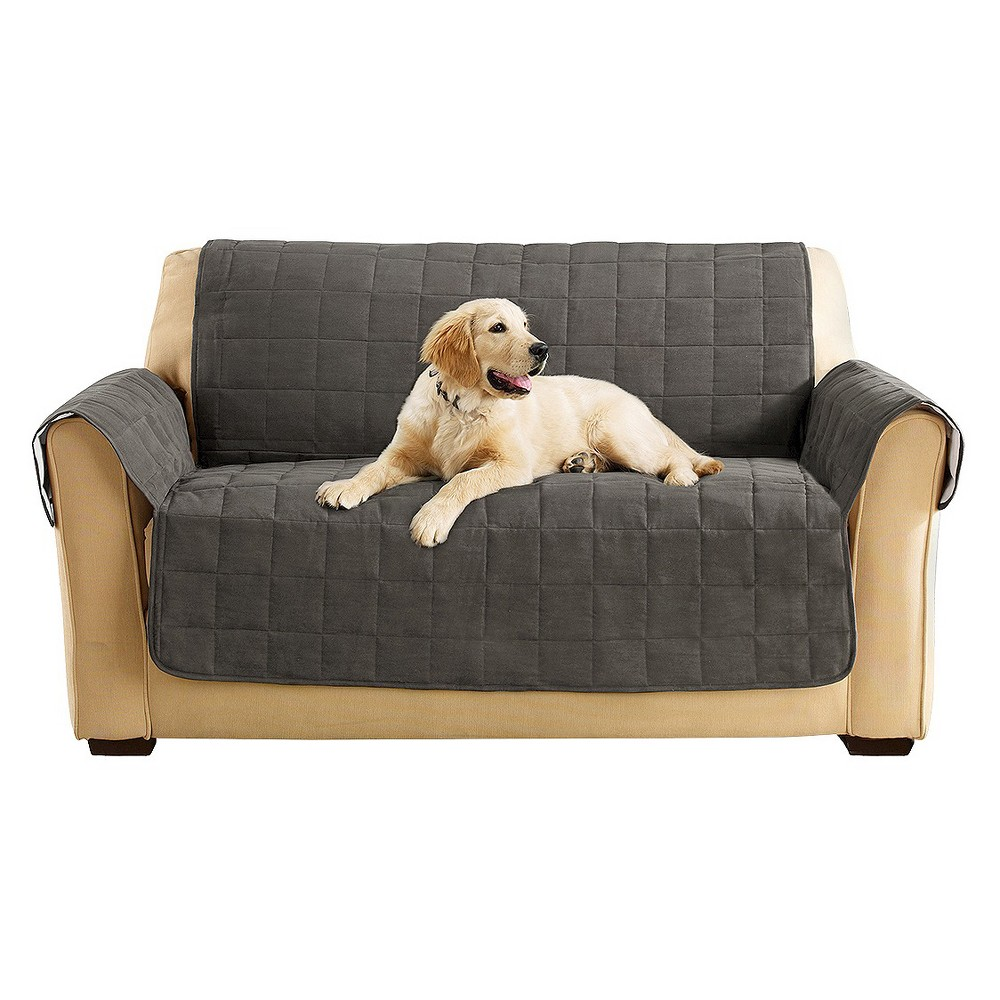 Ultimate Waterproof Suede Loveseat Furniture Cover Gray - Sure Fit