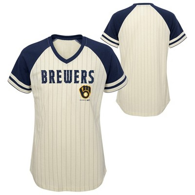 MLB Milwaukee Brewers Girls' Pinstripe V-Neck T-Shirt