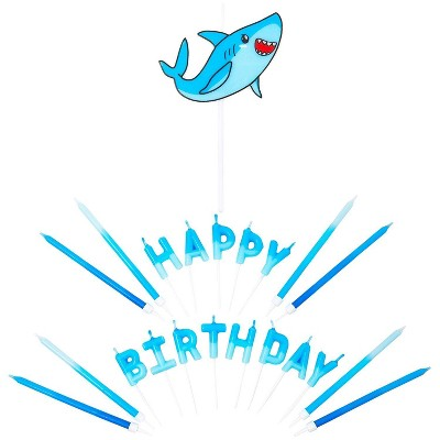 """Blue Panda 38-Piece Blue Shark """"Happy Birthday"""" Cake Topper Letters & Birthday Cake Candles Party Decorations"""