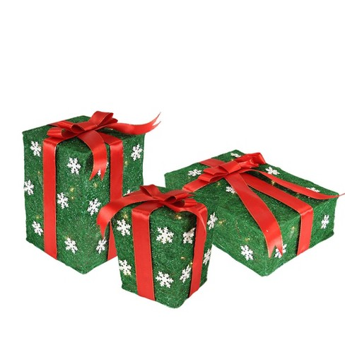 Christmas Boxes.Northlight Set Of 3 Green Sisal Gift Boxes With Red Bows Lighted Outdoor Christmas Decorations