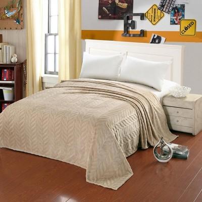 Plazatex Leaf Etched Jacquard Micro Plush Bed Throw Blanket Beige