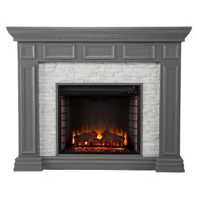 Brothye Faux Stone Electric Fireplace Gray - Aiden Lane