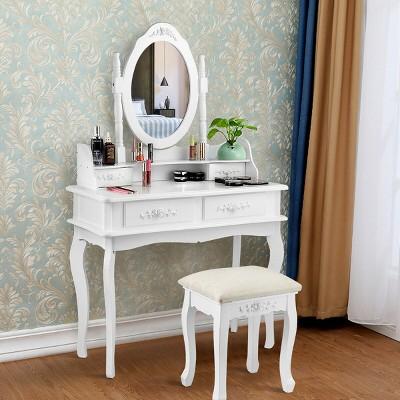 Costway White Vanity Makeup Dressing Table Jewelry Storage Stool