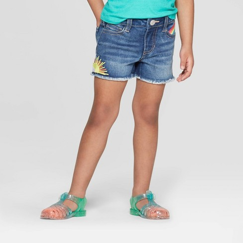 Toddler Girls' Medium Wash Jean Shorts - Cat & Jack™ Blue - image 1 of 3