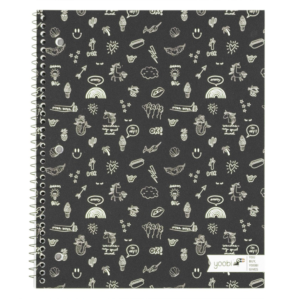 Spiral 1 Subject Notebook Doodle Print Black - Yoobi