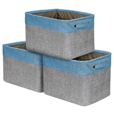 Sorbus 3pk Twill Storage Basket Set Aqua
