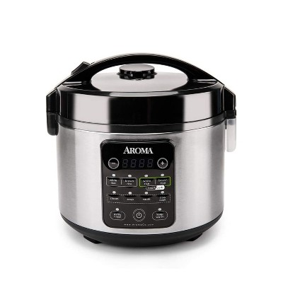 Aroma Professional Stainless Steel 12-Cup Smart Carb Rice Cooker with 8 Presets, Ideal for Cooking, Steaming, and Sautéing Grains, Meats, and Veggies