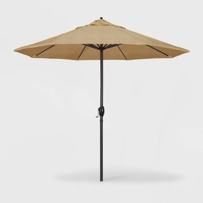 9c9321cad15e 9' Casa Patio Umbrella Auto Tilt Crank Lift - Olefin Woven Sesame -  California Umbrella