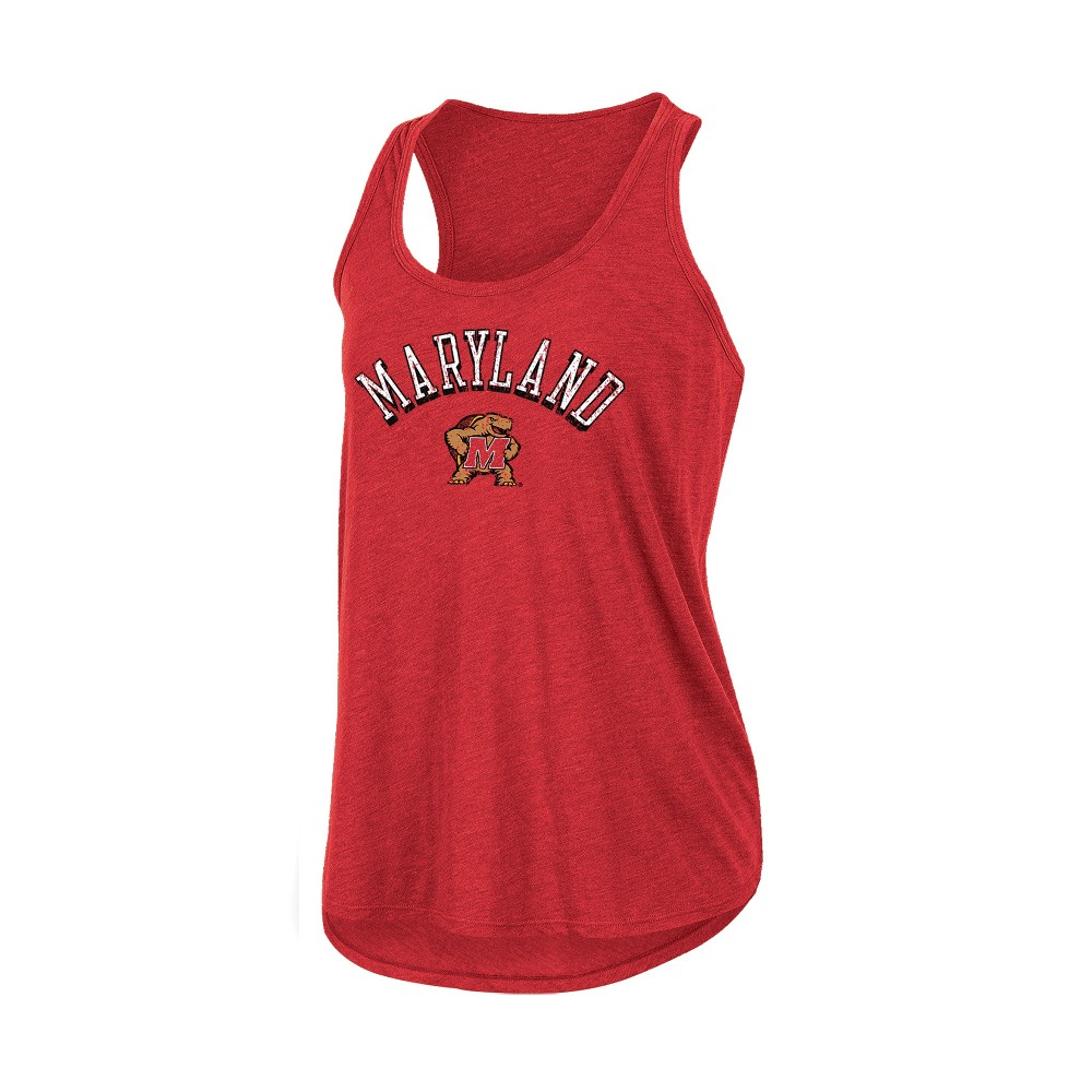 Maryland Terrapins Women's Heathered Racerback Tank - L, Multicolored