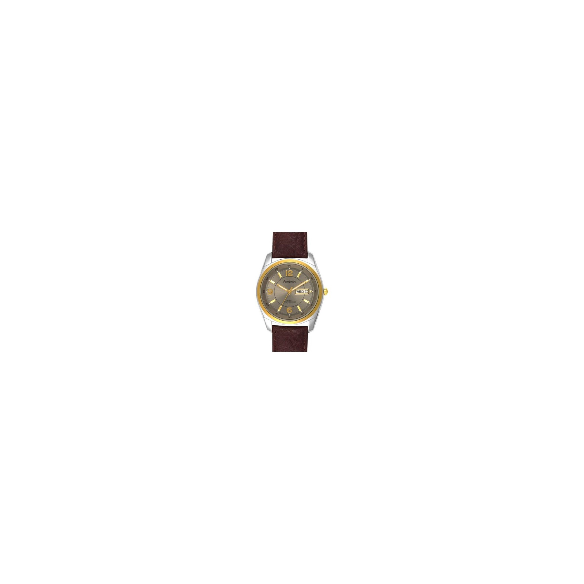 Men's Armitron 2-Tone Watch with Brown Leather Strap, Size: Small, Gold Silver