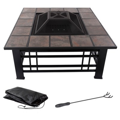 Fire Pit Set Wood Burning Pit 32  Square Tile - Pure Garden