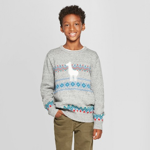 Boys' Pullover Sweater - Cat & Jack™ Gray - image 1 of 3