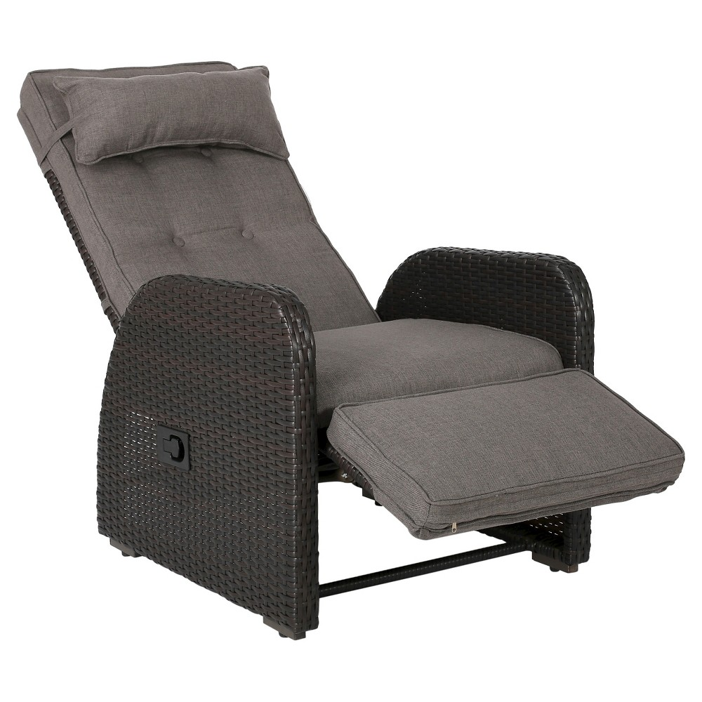 Best Shopping Ostia Wicker Outdoor Recliner With Cushion Brown Christopher Knight Home
