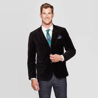 Men's Standard Fit Velvet Blazer - Goodfellow & Co™ Black L