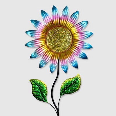 56  Metal Colorful Sunflower Garden Stake Teal - Exhart