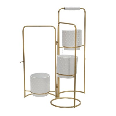 3-Tier Metal Foldable Planters White/Gold - Sagebrook Home