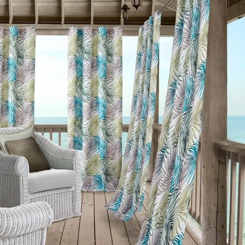 Tahiti Indoor/Outdoor Window Curtain Panel - Green/Blue - Elrene Home Fashions - image 1 of 4