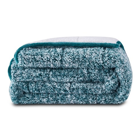 """50""""x60"""" 10lbs Teddy Sherpa to Sherpa Reversible Weighted Throw Blanket Green - Dreamothis - image 1 of 4"""