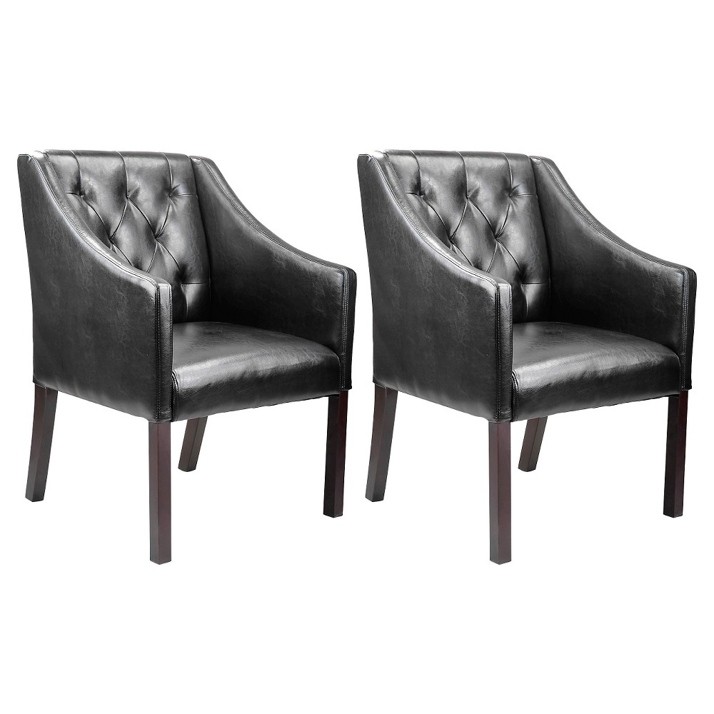 Promos Corliving Antonio Accent Club Chair In Black Bonded Leather Set Of 2