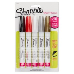 Sharpie Oil Base Paint Markers, Medium Tip, 5pk - Basic Multicolor