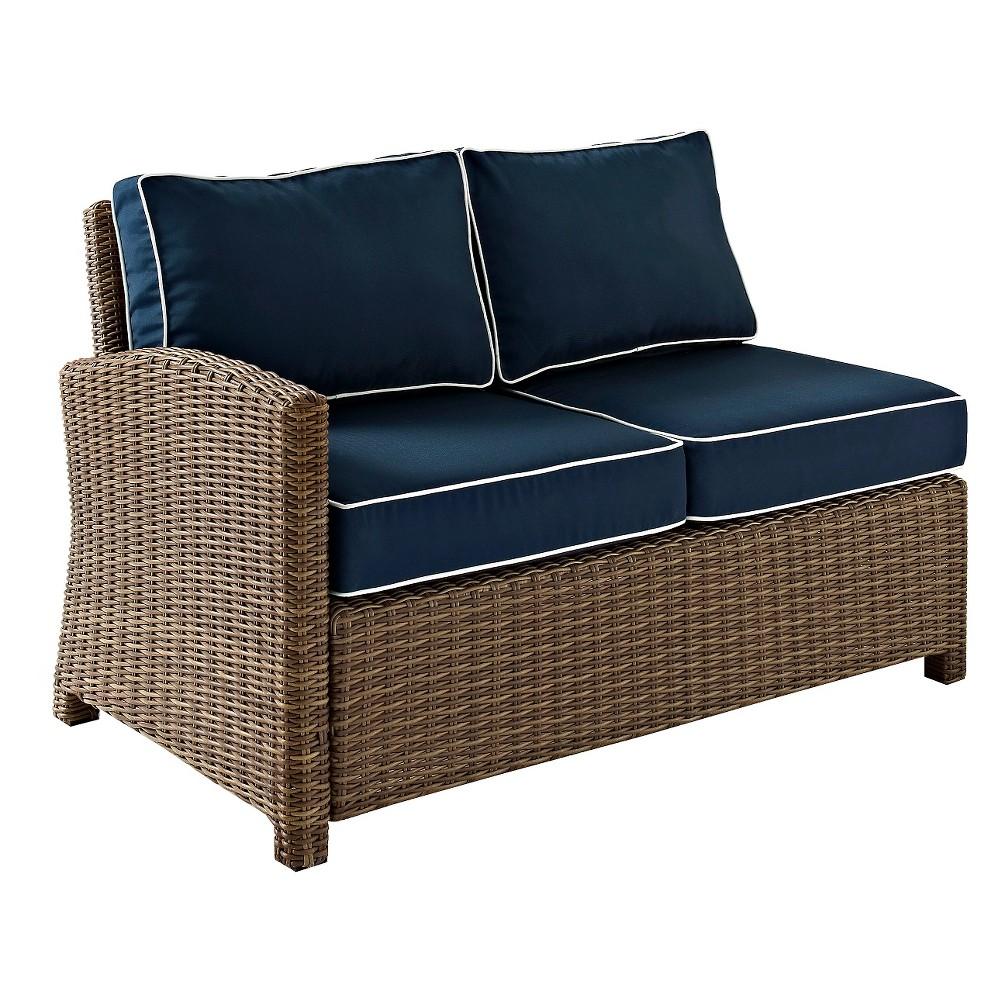 Crosley Bradenton Outdoor Wicker Sectional Left Corner Loveseat w/Navy (Blue) Cushions