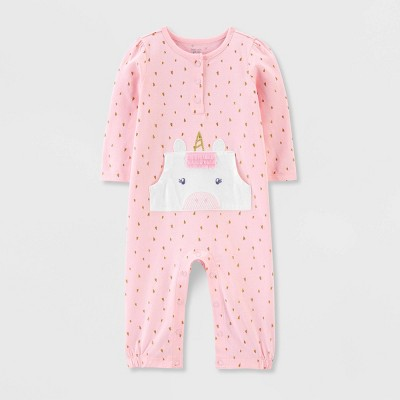 Baby Girls' 1pc Unicorn Jumpsuit - Just One You® made by carter's Pink 9M