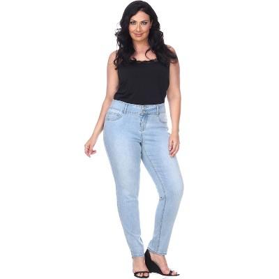 Women's Plus Size Super Stretch Light Blue Denim - White Mark