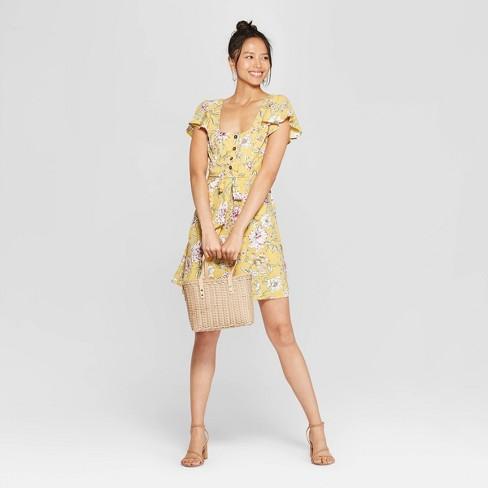 0ac88f87d834 Women s Floral Print Short Sleeve Square Neck Button Front Dress -  Xhilaration™