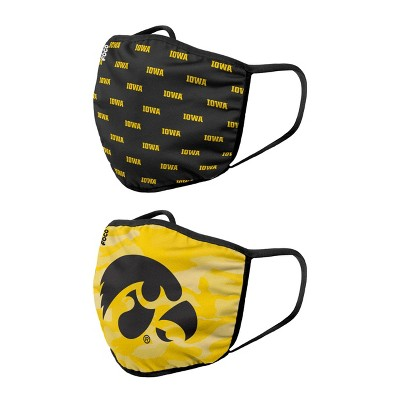 NCAA Iowa Hawkeyes Adult Face Covering 2pk