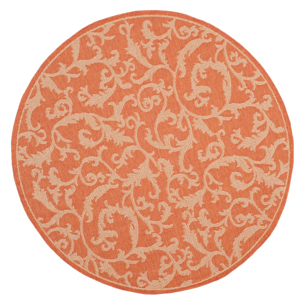 6 39 7 34 Round Jassy Outdoor Rug Terracotta Natural Safavieh