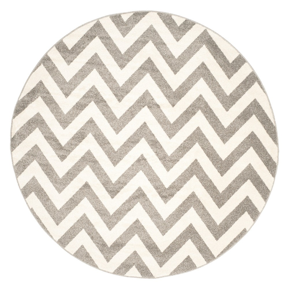 Round 7' Outdoor Patio Rug - Dark Gray /Beige - Safavieh, Dark Gray/Beige