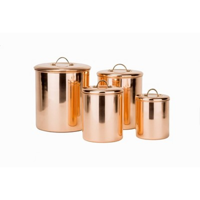 Old Dutch 4pc Polished Copper Canister Set with Brass Knobs