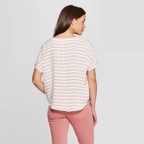 0b6e2642fce48 Women s Striped Short Sleeve Tie Front Top - Universal Thread™ Orange    Target