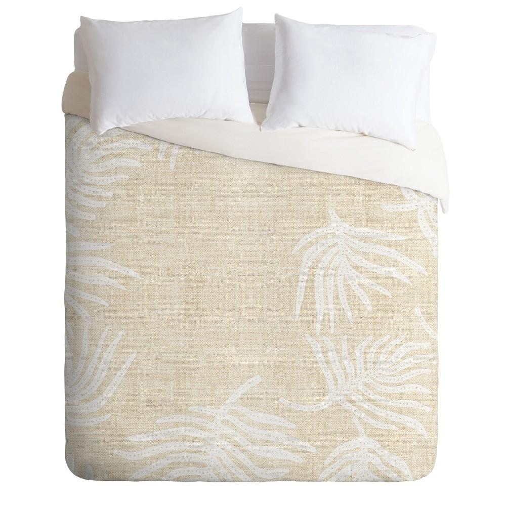 King Holli Zollinger Palm Leave Duvet Set Beige - Deny Designs