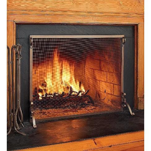 Plow & Hearth - Solid Steel Flat Guard Fireplace Fire Screen, 44ÓW x 33ÓH - image 1 of 1