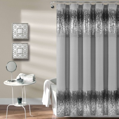Single Shimmer Sequins Shower Curtain Black/Gray - Lush Décor