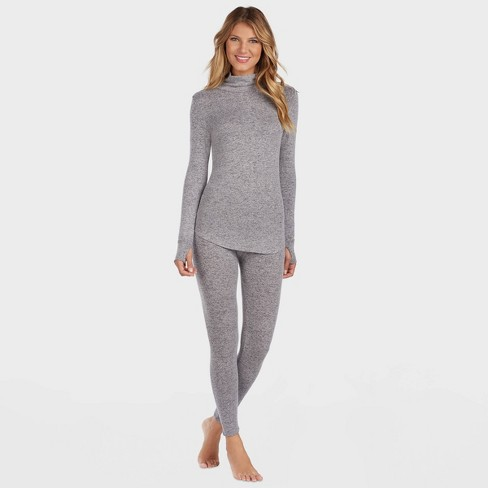 Warm Essentials by Cuddl Duds Women's Sweater Knit Crew Neck Thermal Top - Marled Gray - image 1 of 4