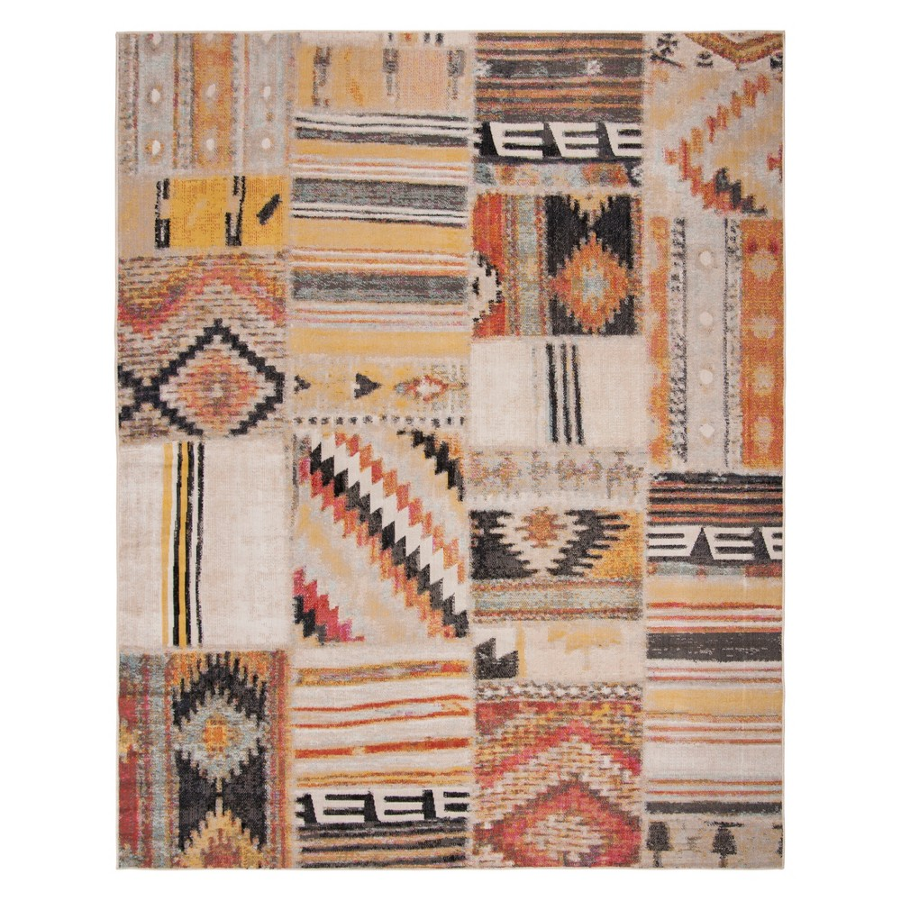 8'X10' Tribal Design Loomed Area Rug Taupe - Safavieh, Gray
