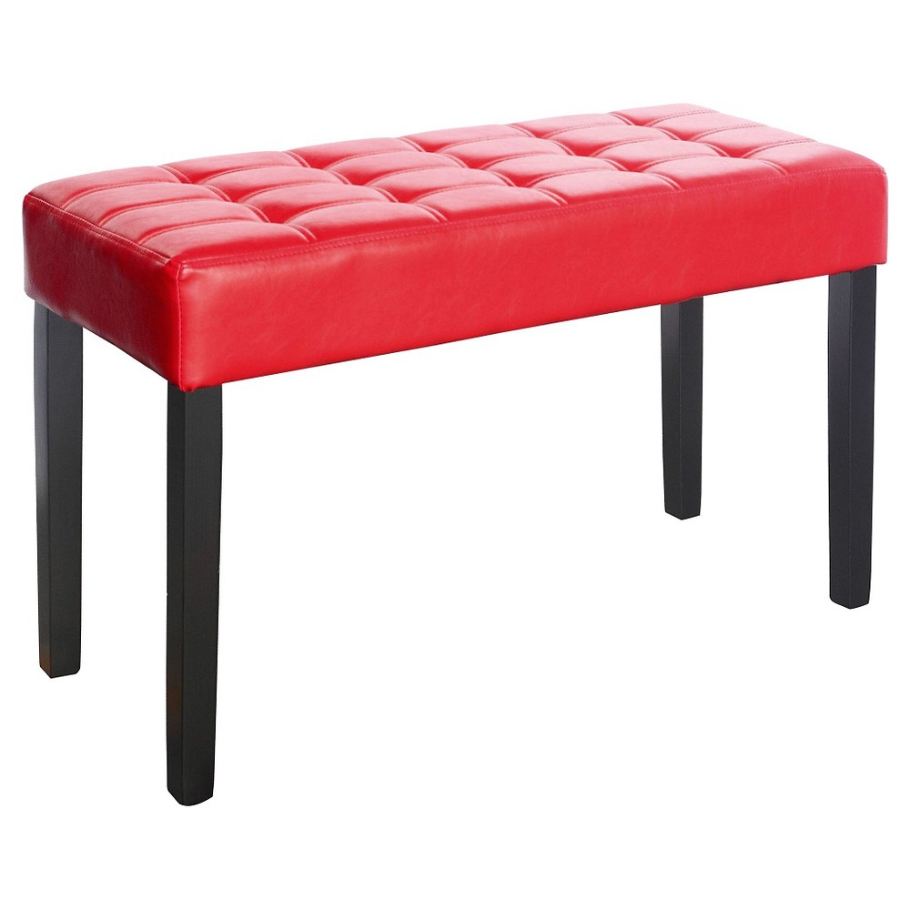 Corliving California 24 Panel Bench In Red Leatherette