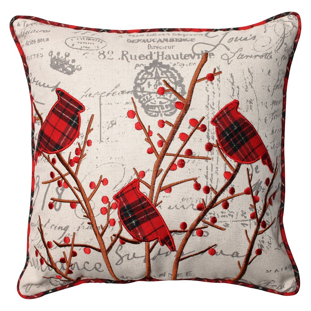 Pillow Perfect Holiday Embroidered Cardinals Throw Pillow - 16.5