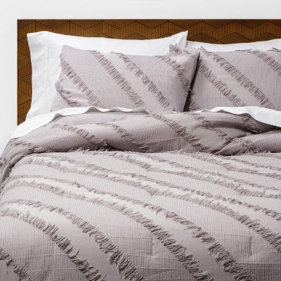 Gray Diagonal Textured K Comforter & Sham Set - Opalhouse™