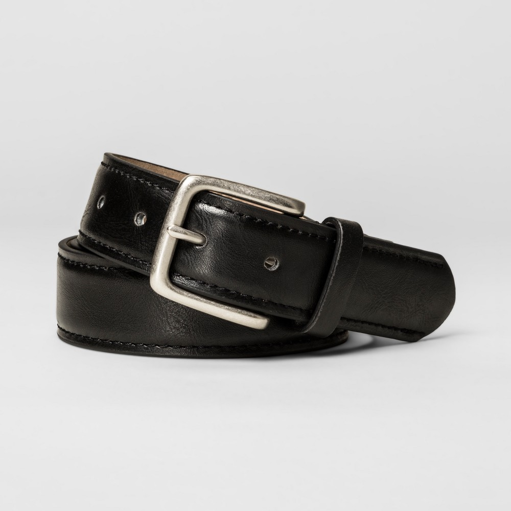 Men's 35mm Leather Belt With Channel Skive - Goodfellow & Co - Black XL