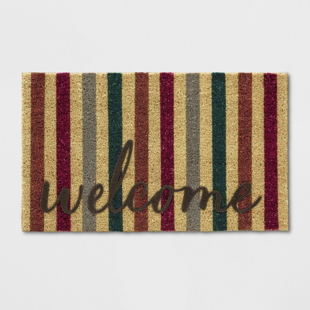 18X30 Stripe Tufted Doormats Brown - Threshold, Foraging Brown